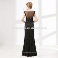 Черный элегантный пром платья без рукавов видеть сквозь кружева вечернее платье мода 2012