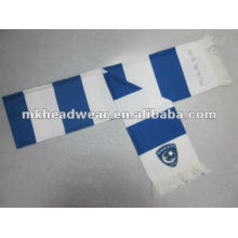 100% polyester scarf with stripe printing and embroidery logo on one side