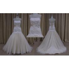 vestido de novia nupcial color hombro champaña