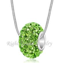 El último collar de abalorios de diseño Peridot Crystal pavimenta los encantos europeos del grano grande del agujero