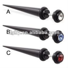 Fake UV acrylic black diamond ear taper