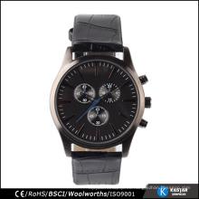 La manera realzó el cuarzo clásico del reloj de los hombres de las correas de cuero, fábrica del reloj del movt de Japón
