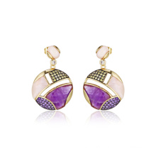 Pink and Amethyst MOP Semi-Precious Stone Earrings