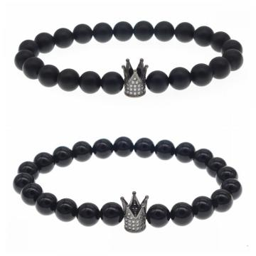Matted Black Onyx Crown Stretch Bracelet