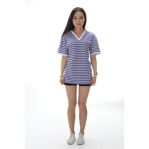 Spring new cotton v-neck sea striped shirt