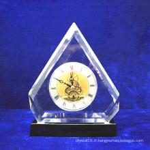 Horloge de bureau en cristal de luxe de table pour la décoration à la maison (KS38401)
