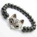 Hematite 8MM perles rondes Stretch Gemstone Bracelet avec Diamante en alliage morceau de lézard