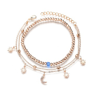 2 Layer Gold Moon Beach Anklet Foot Charm Jewelry Gifts Women
