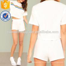 La camiseta y los pantalones cortos de la impresión del arco iris fijan la ropa al por mayor de las mujeres de la manera de la fabricación (TA4077SS)