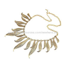 Antique Light Gold Leaf Necklaces, Personalized and Eye-catching, in Various Colors