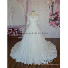 New Arrival Floor Length off Shoulder Short Sleeves Bridal Gown