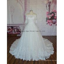 Новое Прибытие Длина пола с плеча с коротким рукавом свадебное платье