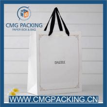 Custom Printing White Card Paper Bag with Black Ribbon Handle