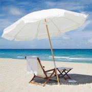 Folding Wooden Beach Sun Umbrella, Waterproof, UV-resistant, High-density, Customized OrdersWelcomed