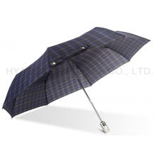 Navy Periksa Cetak 3 Folding Umbrella