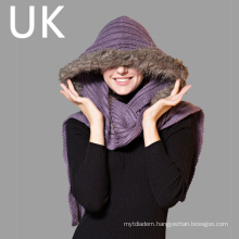 Lady′s Solid Color Winter Knitting Hooded Scarf with Fur Hemming
