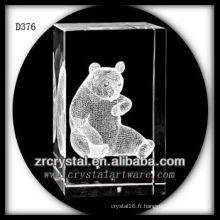 Panda sous-marin de laser de K9 3D à l'intérieur du rectangle en cristal