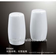 2014 elegant design pillar shape salt and pepper shaker as one set