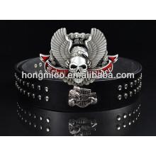 Skull wing genuine leather metal belt skeleton plate buckle punk rock trading company