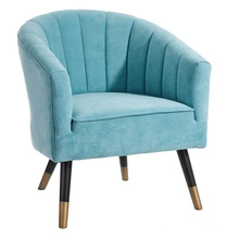 Nordic Style One Seater Fabric Couch Modern Armchair Blue velvet accent sofa chair for living room