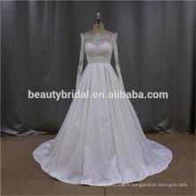 RJU009 Robe de mariée en taffetas blanc en dentelle à manches longues Robe de mariée blanche 2016