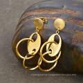 New Style 18K Gold Arabic Gold Circle Long Dangle Steel Earring Designs