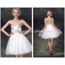 2014 красивые белые короткие линии для возвращения на родину с милая rhinestone молнии органза выпускной платье с цветочным NB0837
