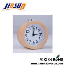 Round Shape Wooden Alarm Clock With Simple Design