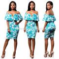 2017 nouvelle conception été imprimé doux mince impression rounde collor la robe à manches courtes en mousseline de soie