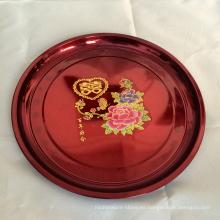 Plato redondo de fruta de metal de acero inoxidable color rojo para servir en la boda india