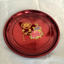 promotional 20inch large metal stainless steel red serving plater