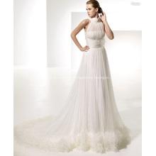 Vestido de noiva Empire A-Line Gola Redonda Chapel Train Fio Drapeado com Alças em X