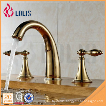 Royal gold plated 3 hole two handle ornate bathroom faucet
