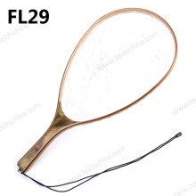Burl Wood Rubber Net Fishing Landing Net