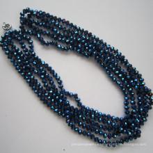 5 filas brillante collar de cristal, joyería de la manera