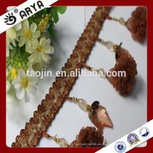 Los bienes comunes florecen la franja hecha a mano de la borla del beade para la decoración de la cortina y la otra materia textil casera