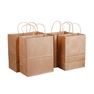 Shopping bag in carta kraft marrone con manico