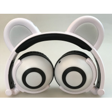 Cartoon Panda Ear Earphones auriculares con cable brillantes