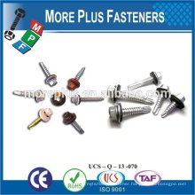"Taiwan #10-16 x 1"" Hex Unslotted Hex Washer Head Epoxy #3 410 Stainless Steel Bonded Sealing Washer Self Drilling Screw"