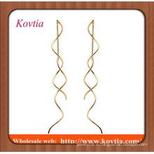 Мода дешевые ювелирные изделия тонкой золотой твист дополнительные длинные серьги цепи