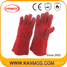 Red Cowhide Split Leather Industrial Hand Safety Welding Work Gloves (111032)