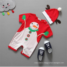 Red Christmas Snowman Pattern Baby Summer Clothes Infant Romper with Hat