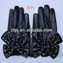 New Arrival Fashion Gants en cuir doux noir pour fille
