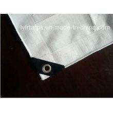 White Clear Tarpaulin with Eyelets&Black Corners, HDPE Coated PE Tarp, Poly Tarp Cover