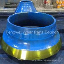 Pièces de concasseur de cône OEM à partir de la fonderie professionnelle d'usure de concasseur