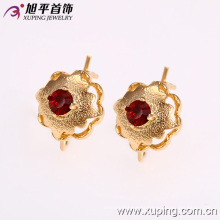27022 Factory price noble lady jewelry flower shape design 18k gold color rhinestone earring