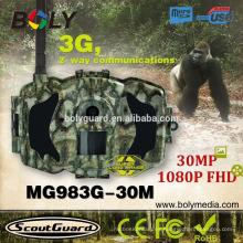 Nueva cámara de video de caza a prueba de agua 3G GMS GPRS MMS 30MP y 1080P FHD Bolyguard MG983G-30M