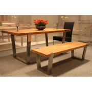 wooden and stainles steel dining set