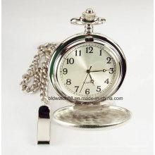 Chaîne de montre de poche en quartz gravé argent satiné