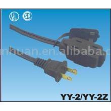 Fiche d'alimentation US avec cordon rallonge électrique extérieure utiliser Etats-Unis standard